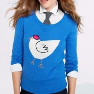 J Crew chicken with a beret sweater